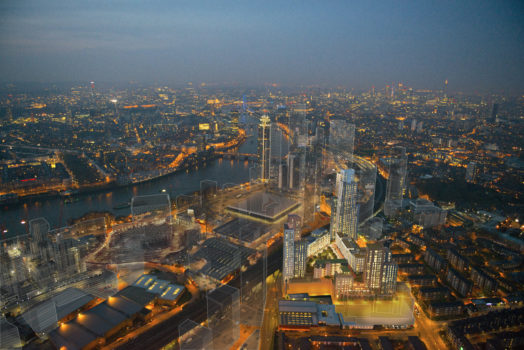 Aerial view of Nine Elms regeneration site at night, London