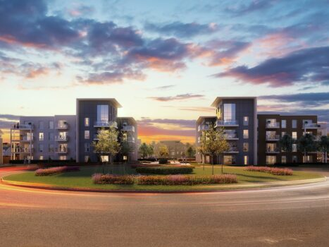 CGI of  Phase 3b - Westport Apartments at Dusk